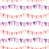 Watercolor seamless pattern with the garland Stock Images