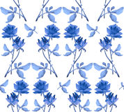 Watercolor seamless pattern with garlands of blue roses on white background. Royalty Free Stock Images