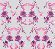 Watercolor seamless pattern with garlands of pink roses on gray background. Watercolor seamless pattern with garlands of pink roses with pink leaves on gray Royalty Free Stock Images