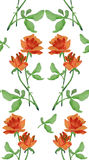Watercolor seamless pattern with garlands of redroses on white background. Watercolor seamless pattern with garlands of red roses with green leaves on white Stock Photos