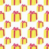 Watercolor seamless pattern with gift box on the Royalty Free Stock Image