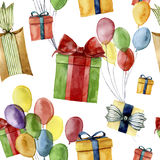 Watercolor seamless pattern with gift boxes and air balloon. Hand painted box with bow isolated on white background Royalty Free Stock Photo