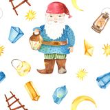 Watercolor seamless pattern with gnome, lantern, crystals. vector illustration