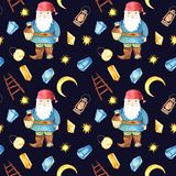 Watercolor seamless pattern with gnome, lantern, crystals. royalty free illustration