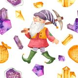 Watercolor seamless pattern with gnome, pickaxe, bag, crystals. royalty free stock images