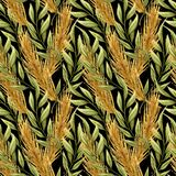 Watercolor seamless pattern with gold ears of wheat and green twigs on black background. Hand drawn illustration