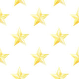 Watercolor seamless pattern with golden stars. christmas or new year print for wrapping paper, card or textile design. Watercolor seamless pattern with golden Stock Photo