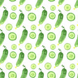 Watercolor seamless pattern with green cucumbers. Vector hand drawn healthy food illustration. Stock Image