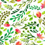 Watercolor seamless pattern with green leaf and red flowers Stock Photo