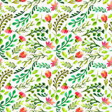 Watercolor seamless pattern with green leaf and red flowers Royalty Free Stock Photography