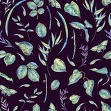 Watercolor seamless pattern with green leaves Royalty Free Stock Image
