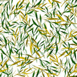 Watercolor seamless pattern with green leaves. And branches on a blurred background. Hand drawn watercolor illustration. Design for fabric, textile, wrapping Royalty Free Stock Photo