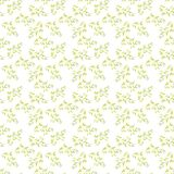 Watercolor seamless pattern with green leaves twig. Branches on white background stock illustration