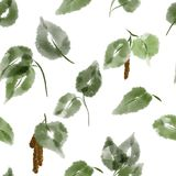 Watercolor seamless pattern with green leaves on white background royalty free illustration