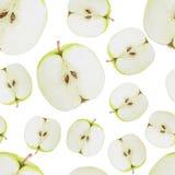 Watercolor seamless pattern with green sliced apples. Hand drawn design. Vector summer fruit illustration vector illustration