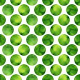 Watercolor seamless pattern with green textured circles. Vector background Stock Photo