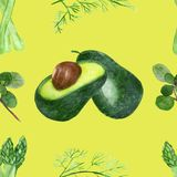 Watercolor seamless pattern of green vegetables isolated on yellow background. Set of painted fresh products for beautiful menu design, posters, postcards stock illustration