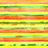 Watercolor seamless pattern with green, yellow, red, orange color stripes. Royalty Free Stock Photos