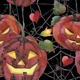 Watercolor seamless pattern. Halloween. Spooky pumpkins with light eyes. vector illustration