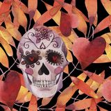 Watercolor seamless pattern. Halloween. Spooky skull with light eyes and autumn leaves. stock illustration