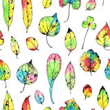 Watercolor seamless pattern with hand drawn autumn leaves Stock Image