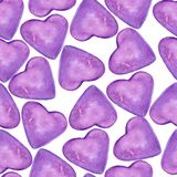 Love card with violet hearts seamless pattern on the white background royalty free illustration