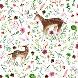 Watercolor seamless pattern. Seamless pattern with hand drawn deer mom and deer baby.  on white background watercolor deers and forest elements for textile Royalty Free Stock Photo