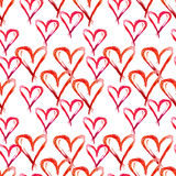 Watercolor seamless pattern . Hand drawn red hearts for Valentin. Es day Stock Photos