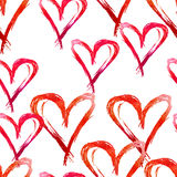 Watercolor seamless pattern . Hand drawn red hearts for Valentin. Es day Stock Photo