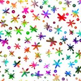 Watercolor Seamless pattern with hand drawn snowflakes. Abstract brush strokes. Ink illustration.  on white Stock Images