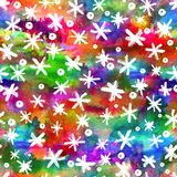 Watercolor Seamless pattern with hand drawn snowflakes. Abstract brush strokes. Ink illustration. White on rainbow Stock Photo