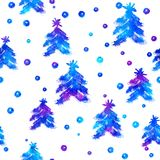 Watercolor Seamless pattern with hand drawn snowflakes and christmas tree . Abstract brush strokes. Ink illustration Stock Photo