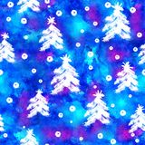 Watercolor Seamless pattern with hand drawn snowflakes and christmas tree . Abstract brush strokes. Ink illustration Royalty Free Stock Photos