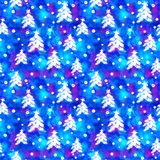 Watercolor Seamless pattern with hand drawn snowflakes and christmas tree . Abstract brush strokes. Ink illustration Stock Photography