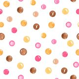 Watercolor seamless pattern hand painted with circles. royalty free illustration