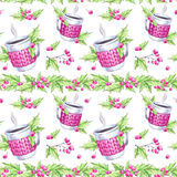 Watercolor seamless pattern. Hand painted cup of hot drink with knitted case, rowan and leaves. Christmas floral border Royalty Free Stock Photography