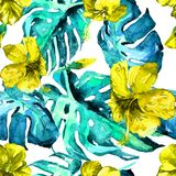 Watercolor Seamless Pattern. Hand Painted Illustration of Tropical Leaves and Flowers. Tropic Summer Motif with Hibiscus Pattern. Exotic Flowers Watercolor Royalty Free Stock Image