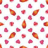 Watercolor seamless pattern with hand painted watercolor cupcake, macaroons and sweet hearts. Hand drawn vector watercolor Stock Photography