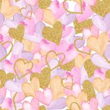Watercolor seamless pattern with hearts, angels, wings, keys, arrows. royalty free illustration