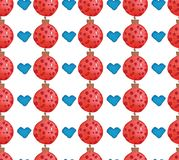 Watercolor seamless pattern with hearts and balls. Winter new year theme. Christmas textile and paper. Watercolor seamless pattern with hearts and balls. Winter vector illustration