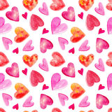 Watercolor seamless pattern with hearts for valentines day. Hand drawn style illustration Royalty Free Stock Images