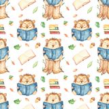 Watercolor seamless pattern with hedgehog reading school books