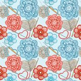 Watercolor Seamless pattern Hobby Crochet heart, bow, flower, hook, buttons on blue background. Collection of hand drawn