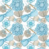 Watercolor Seamless pattern Hobby Crochet heart, bow, flower, hook, buttons on white background. Collection of hand