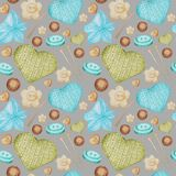 Watercolor Seamless pattern Hobby Knitting and Crocheting. Collection of hand drawn light blue, green, beige, brown stock illustration