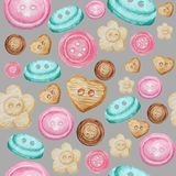 Collection of hand drawn buttons on gray background. Watercolor Seamless pattern Hobby Knitting, Crocheting and Sewing.