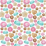 Collection of hand drawn buttons on white background. Watercolor Seamless pattern Hobby Knitting, Crocheting and Sewing.