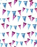 Watercolor seamless pattern with holiday flags on Royalty Free Stock Photo
