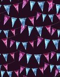 Watercolor seamless pattern with holiday flags on Royalty Free Stock Images