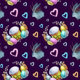 Watercolor seamless pattern holiday Happy Easter. vector illustration